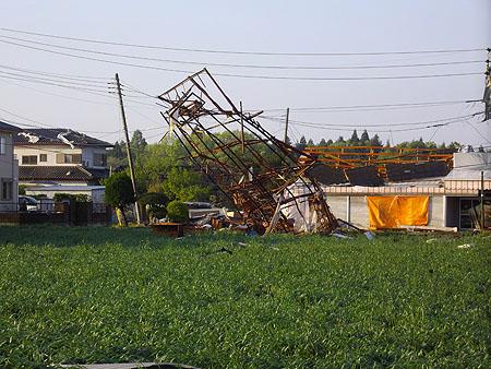 真岡市内の突風被害状況1